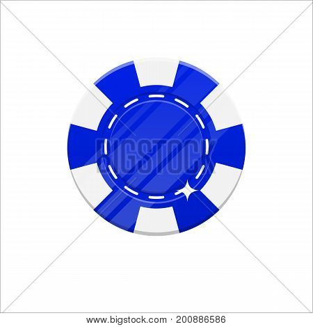 Blue casino chip cartoon style isolated. The original casino chip for designers and illustrators. Casino bet in the form of a vector illustration