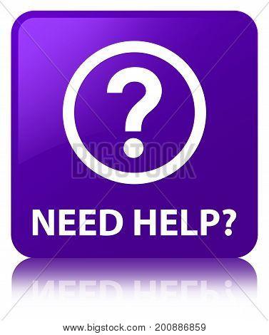Need Help (question Icon) Purple Square Button