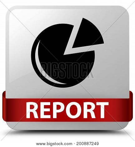 Report (graph Icon) White Square Button Red Ribbon In Middle