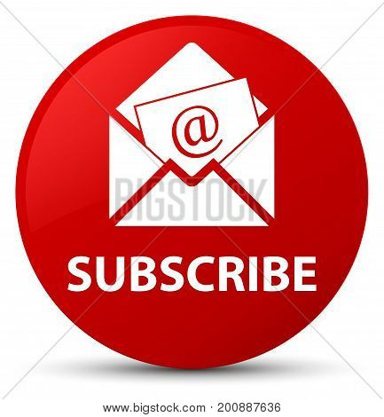 Subscribe (newsletter Email Icon) Red Round Button