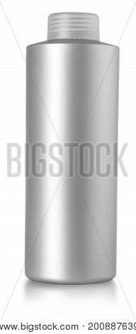silver bottle with shampoo isolted on white background