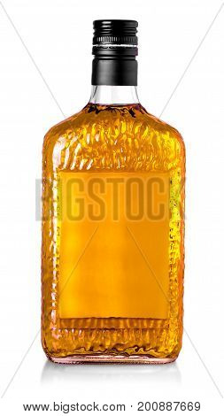 whiskey bottle isolated over a whte background with clipping path