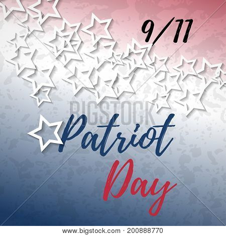 9 11 Patriot Day banner with typography lettering and abstract american flag background. Poster template for Patriot Day September 11. Vector illustration for web, cards, print, flyer, banner