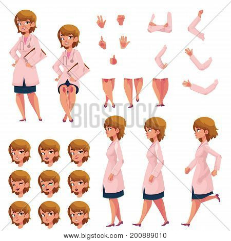 Woman, doctor in medical coat creation set with choice of poses, gestures, emotions, cartoon vector illustration on white background. Doctor creation set, constructor, changeable face, legs, arms