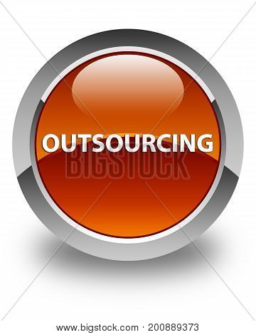 Outsourcing Glossy Brown Round Button