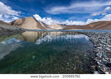 Beautiful Pangong Lake Leh-Ladakh Jammu and Kashmir India