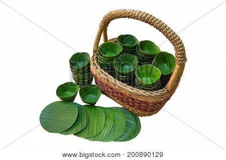 Banan leaf for Nian Gao or the Steamed dessert of Chinese New Year festival isolated on white background