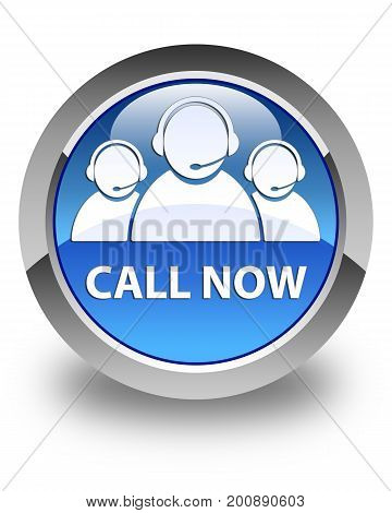 Call Now (customer Care Team Icon) Glossy Blue Round Button