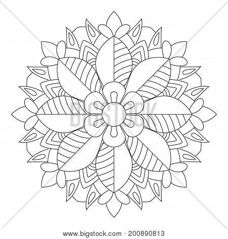 Flower Mandala vector illustration. Oriental pattern, vintage decorative elements. Islam, Arabic, Indian, moroccan, turkish ottoman motifs Coloring page