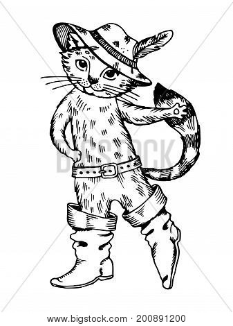 Cat in boots fairy tale character engraving vector illustration. Scratch board style imitation. Hand drawn image.