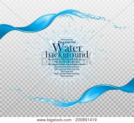 Water frame. Splashes of water on a transparent background. Element for your design. Vector illustration.
