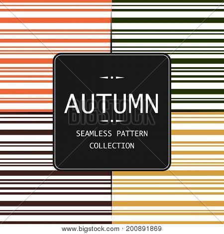 Autumn vector seamless pattern. Endless texture for  fill web page background texture. Set of halloween and thanksgiving geometric ornament. Orange and white colors