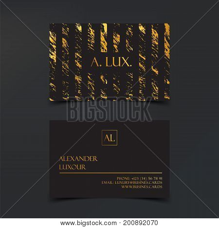 Fashion Elegant Black luxury business cards with marble texture and gold detail vector template, banner or invitation with golden foil details. Branding and identity graphic design.