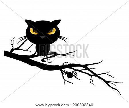 halloween theme spooky black cat and spider on a tree branch - monster vector design