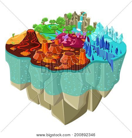 Isometric game landscape concept with magic forest waterfall icy mountains volcano craters desert river vector illustration