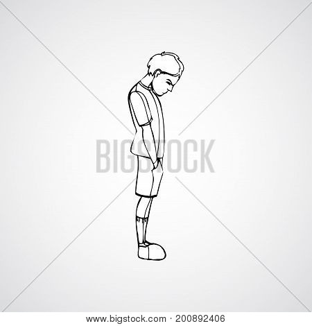 Child, boy standing frustrated. Vector outlined illustration. White image, gray background