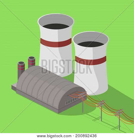 Nuclear power plant colorful minimalistic isometric style vector illustration