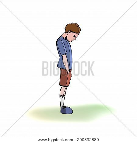 Child, boy standing frustrated. Vector outlined illustration. White image, gray background.
