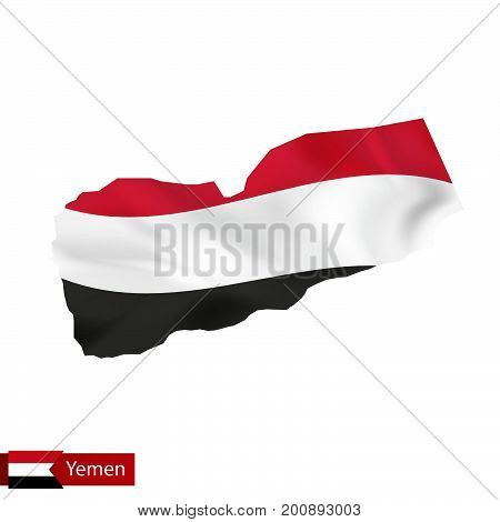 Yemen Map With Waving Flag Of Country.
