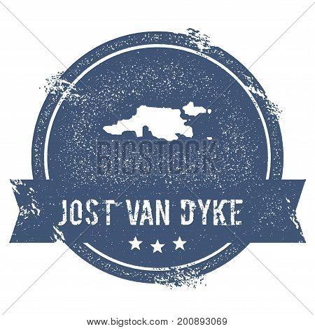 Jost Van Dyke Logo Sign. Travel Rubber Stamp With The Name And Map Of Island, Vector Illustration. C