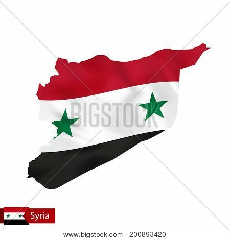 Syria Map With Waving Flag Of Country.