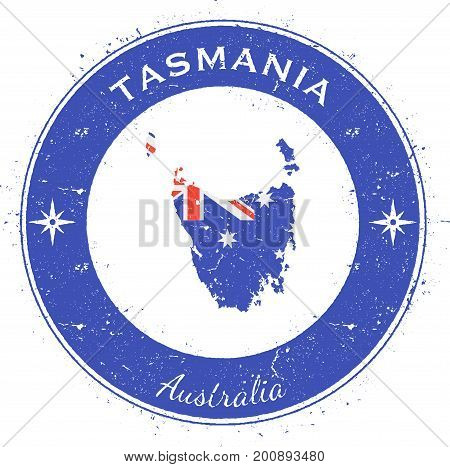 Tasmania Circular Patriotic Badge. Grunge Rubber Stamp With Island Flag, Map And Name Written Along