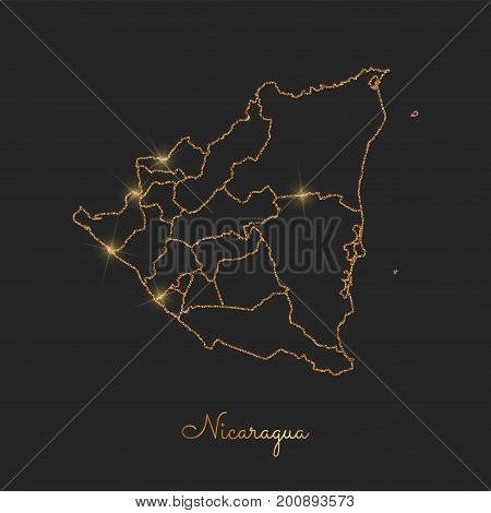 Nicaragua Region Map: Golden Glitter Outline With Sparkling Stars On Dark Background. Detailed Map O