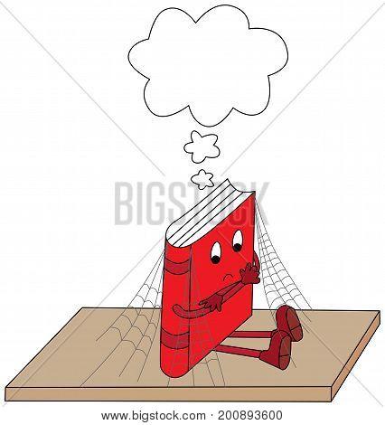 Cartoon illustration of a books sitting forgotten on a shelf with empty speech bubble above it