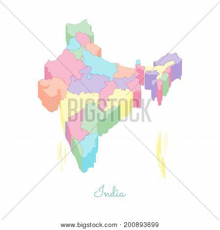 India Region Map: Colorful Isometric Top View. Detailed Map Of India Regions. Vector Illustration.