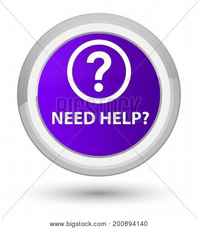 Need Help (question Icon) Prime Purple Round Button