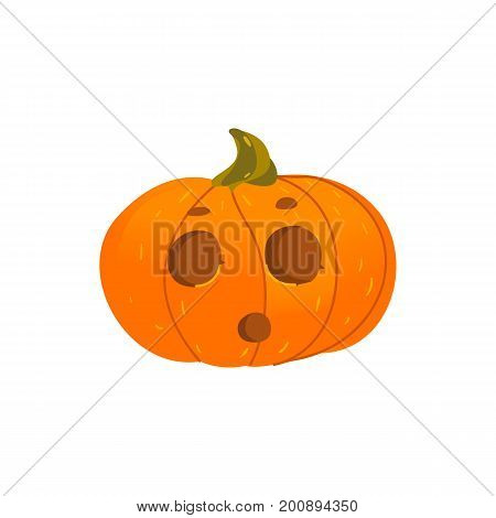 Cute Halloween pumpkin jack-o-lantern with round eyes and surprised face expression, cartoon vector illustration isolated on white background. Pumpkin lantern with surprised face, Halloween decoration