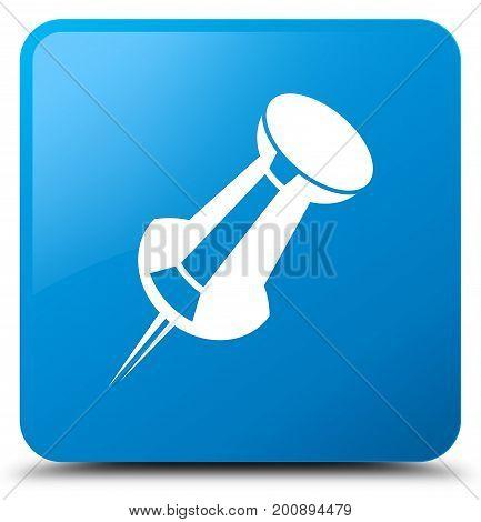 Push Pin Icon Cyan Blue Square Button