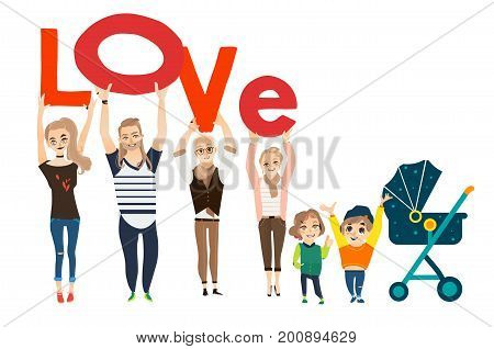 Family concept - parents, grandparents and children holding boards with letters of word LOVE, cartoon vector illustration on white background. Happy funny family members holding letters of word Love