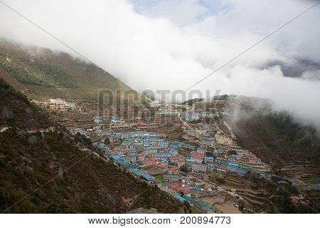 Mountain Town Of Namche Bazar In Sagarmatha National Park, Himalayas, Nepal. Mountain Town In The Be