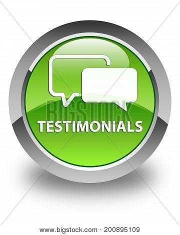 Testimonials Glossy Green Round Button