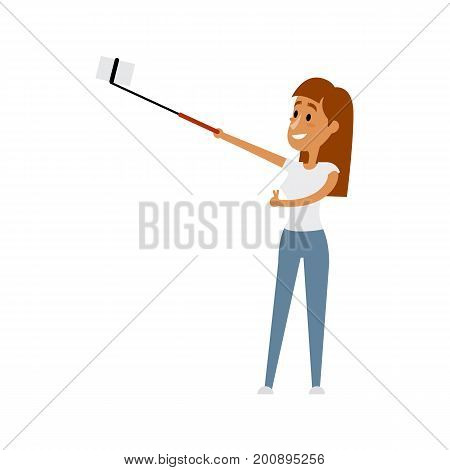 Pretty girl, young woman making selfie with phone and monopod, flat style cartoon vector illustration isolated on white background. Pretty woman, beautiful girl making selfie with her smarphone