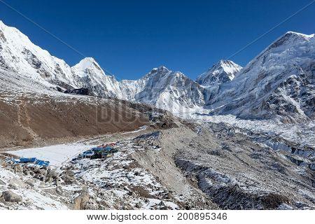 Everest Base Camp Trek/nepal - October 31, 2015: Gorakshep Settlement Near Everest Base Camp, Surrou
