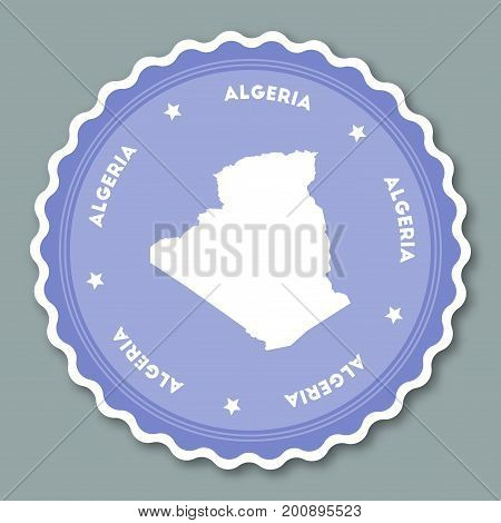 Algeria Sticker Flat Design. Round Flat Style Badges Of Trendy Colors With Country Map And Name. Cou