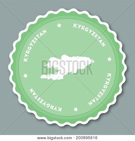 Kyrgyzstan Sticker Flat Design. Round Flat Style Badges Of Trendy Colors With Country Map And Name.