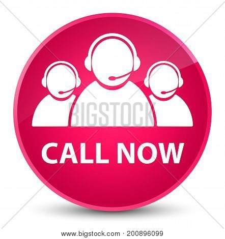 Call Now (customer Care Team Icon) Elegant Pink Round Button