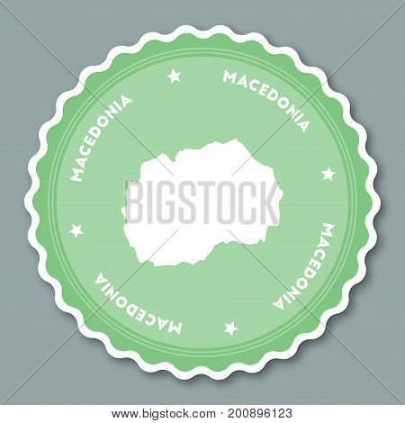 Macedonia, The Former Yugoslav Republic Of Sticker Flat Design. Round Flat Style Badges Of Trendy Co