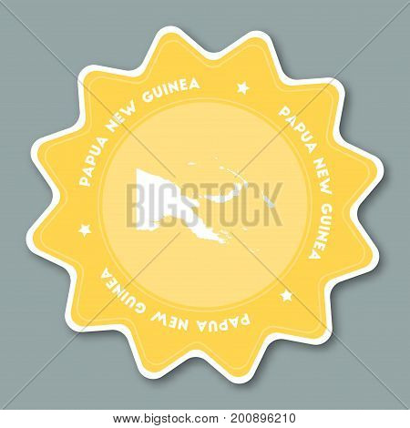 Papua New Guinea Map Sticker In Trendy Colors. Star Shaped Travel Sticker With Country Name And Map.