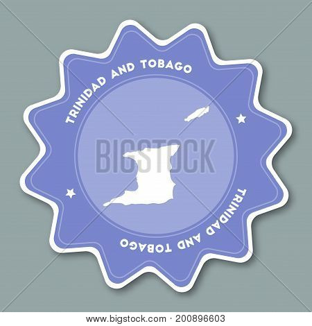 Trinidad And Tobago Map Sticker In Trendy Colors. Star Shaped Travel Sticker With Country Name And M