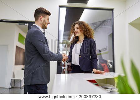 Handshake between two business people in start-up