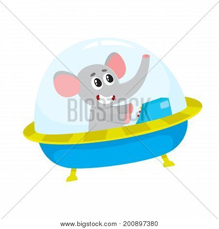 Cute elephant animal astronaut, spaceman character flying in spaceship, spacecraft, cartoon vector illustration isolated on white background. Funny elephant astronaut, spaceman in flying in spaceship