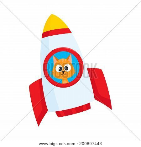 Cute little cat, kitten astronaut, spaceman character flying in rocket, cartoon vector illustration isolated on white background. Baby cat, kitten astronaut, spaceman in rocket, space adventure