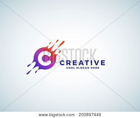 Letter C Incorporated in Colorful Gradient Blot with Splashes. Abstract Vector Sign, Emblem or Logo Template. Creative Symbol. Isolated.