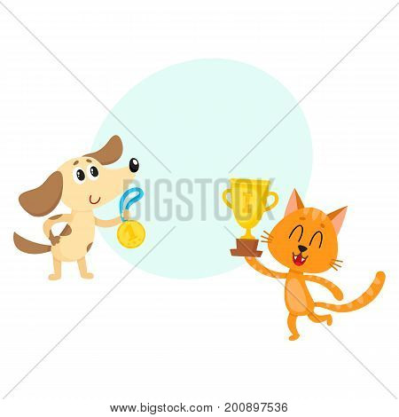 Cute red cat and dog characters, champions with golden winner medals, cartoon vector illustration with space for text. Baby dog and red cat champions who win first place medals