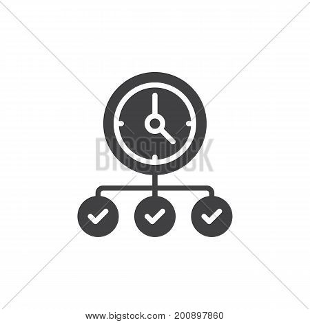 Clock with check marks icon vector, filled flat sign, solid pictogram isolated on white. Symbol, logo illustration. Pixel perfect vector graphics