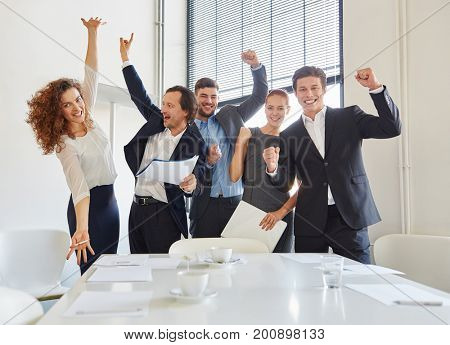 Celebration of business team with enthusiasm in start-up